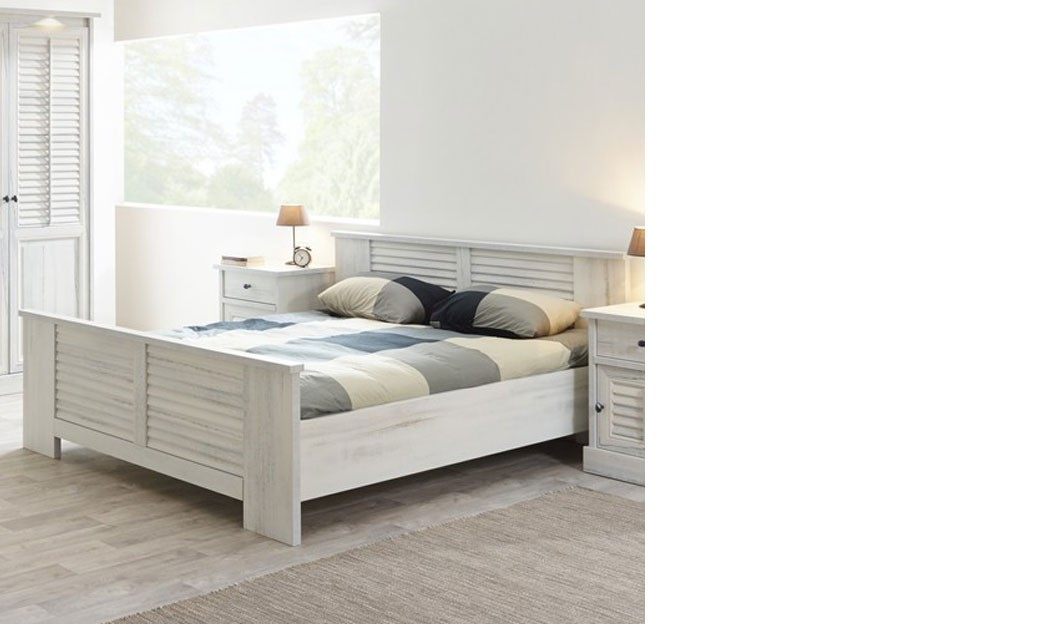 lit contemporain couleur bois blanc lanette. Black Bedroom Furniture Sets. Home Design Ideas