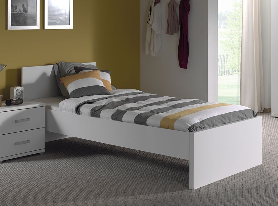 Lit enfant blanc moderne gregory for Divan lit une place