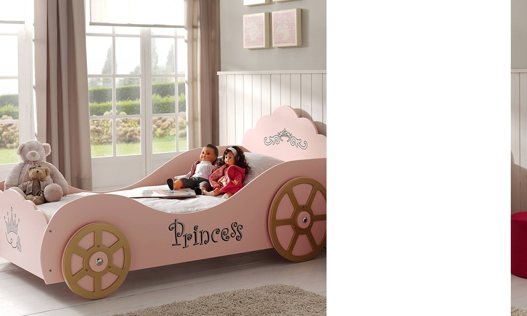 Lit fille rose avec sommier inclus PRINCESSE TOWER