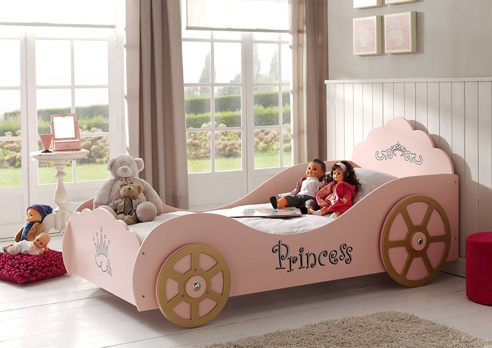 lit fille rose avec sommier inclus princesse tower - Lit Fille