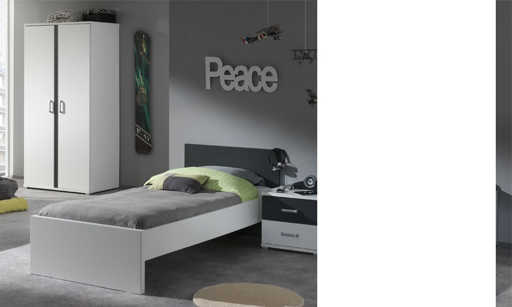 lit 1 place enfant blanc et gris moderne joaquim lit gigogne en option. Black Bedroom Furniture Sets. Home Design Ideas