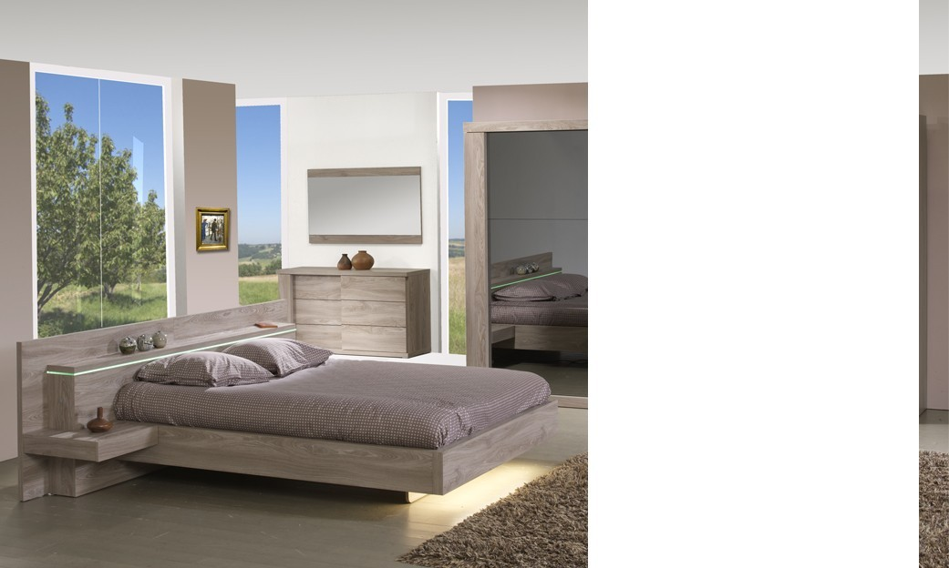 lit avec chevets couleur ch ne clair contemporain preston. Black Bedroom Furniture Sets. Home Design Ideas