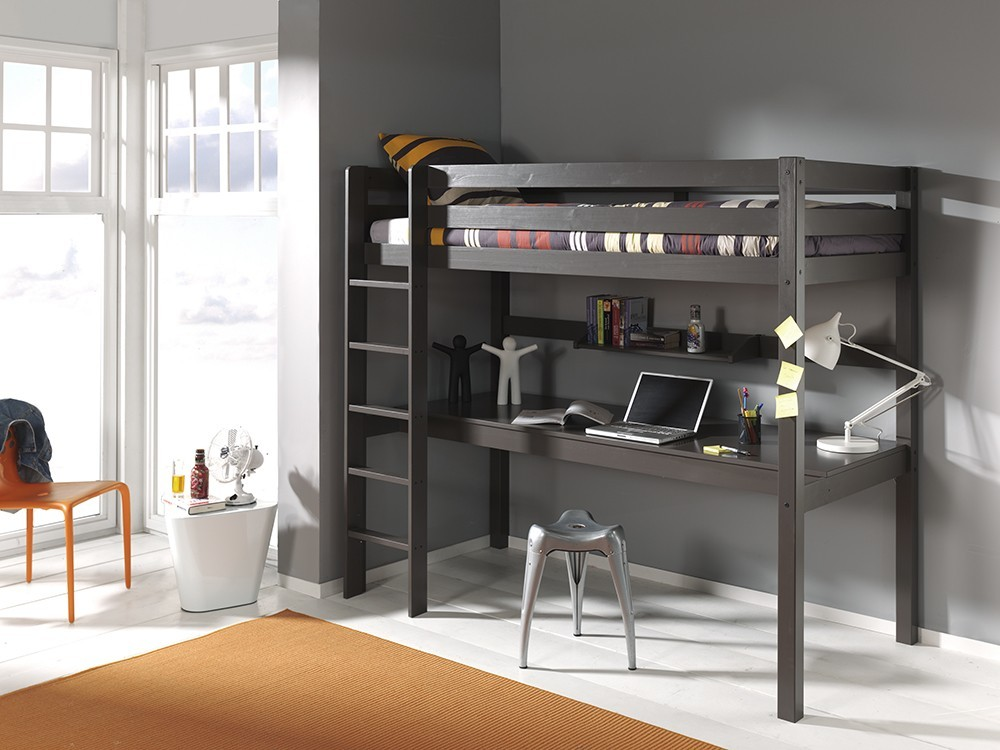 lit mezzanine bureau gris maxens zd1 lit sur p 013. Black Bedroom Furniture Sets. Home Design Ideas