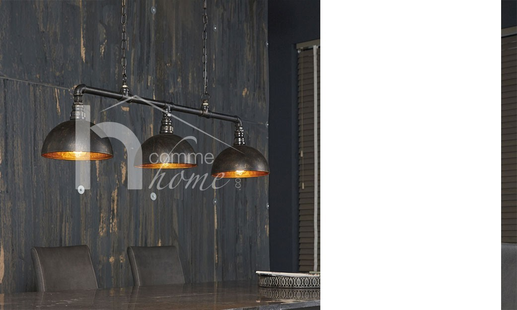 Suspension industrielle en m tal noir et dor infra for Luminaire suspension industriel