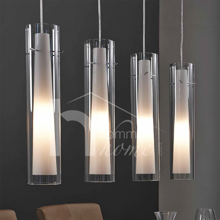 Luminaire suspension design 4 lampes yona zd1 susp d - Table italienne en verre ...