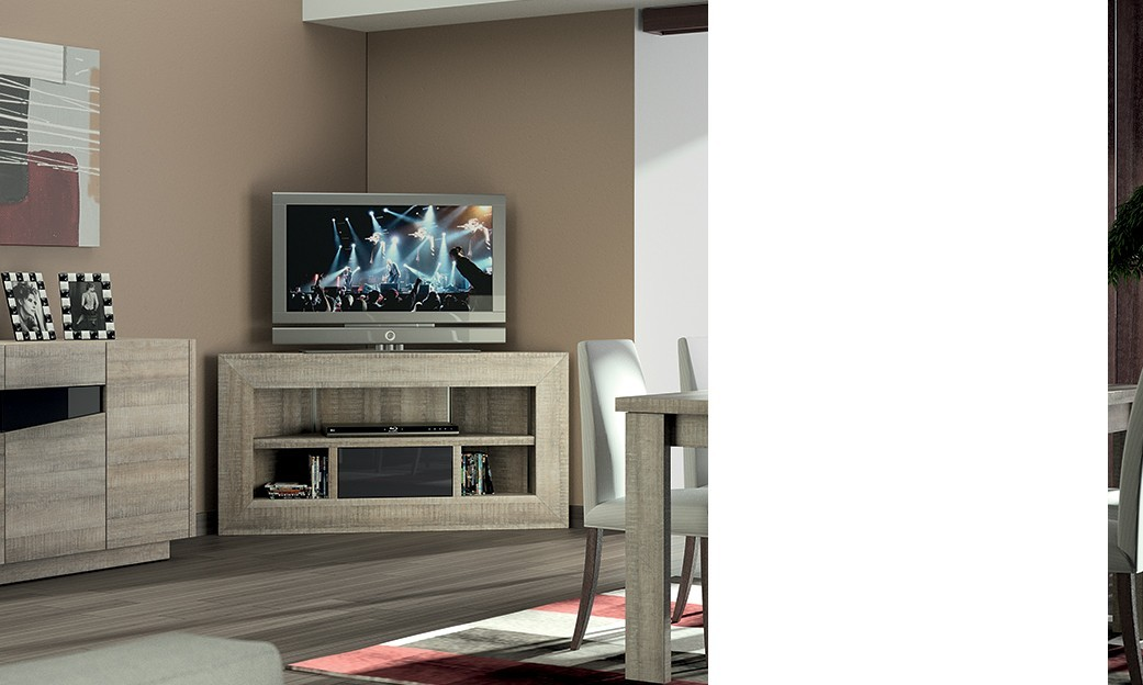 Meuble TV dangle bas contemporain TEXAS, coloris chêne gris et laqué ant -> Meuble Tv DAngle Bois Moderne