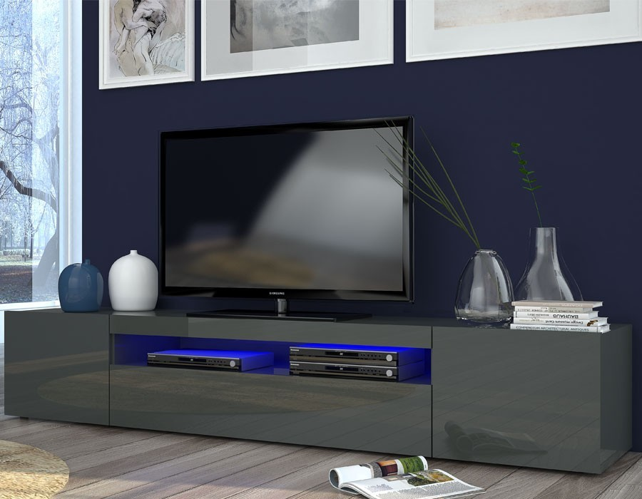 meuble tv anthracite laque design 200 gatino. Black Bedroom Furniture Sets. Home Design Ideas