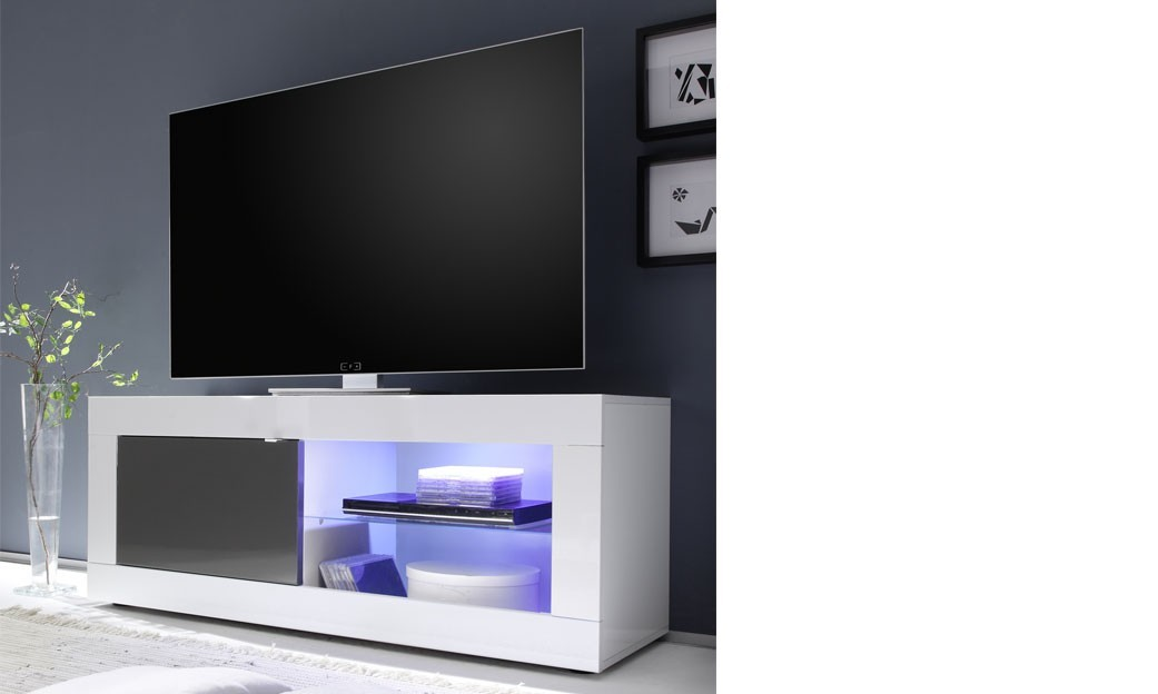 Meuble tv laqu blanc et anthracite design focus 3 for Meuble de tv blanc