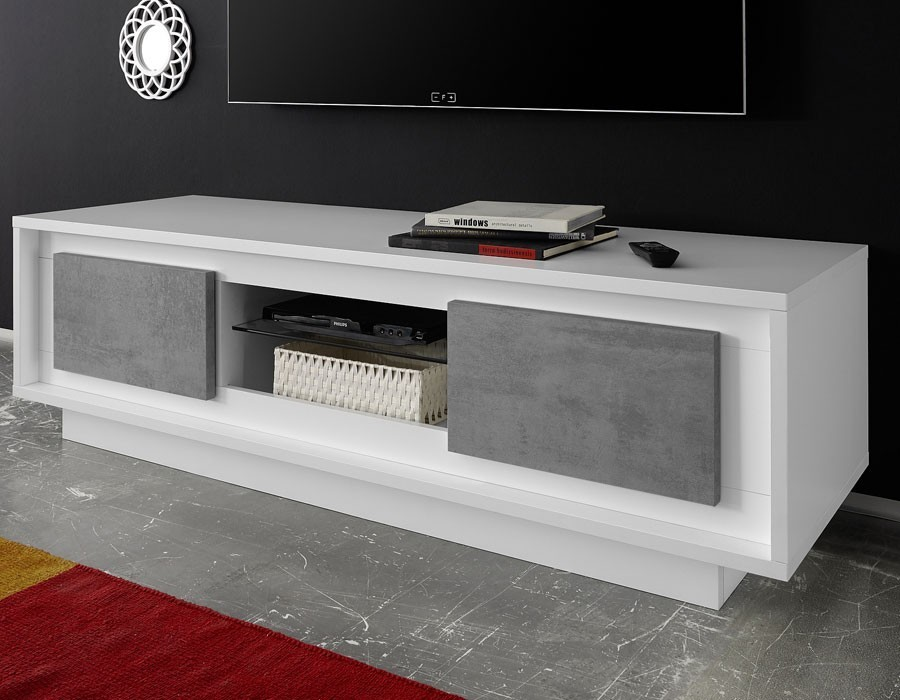 meuble tv blanc laque beton design maryland zd1. Black Bedroom Furniture Sets. Home Design Ideas