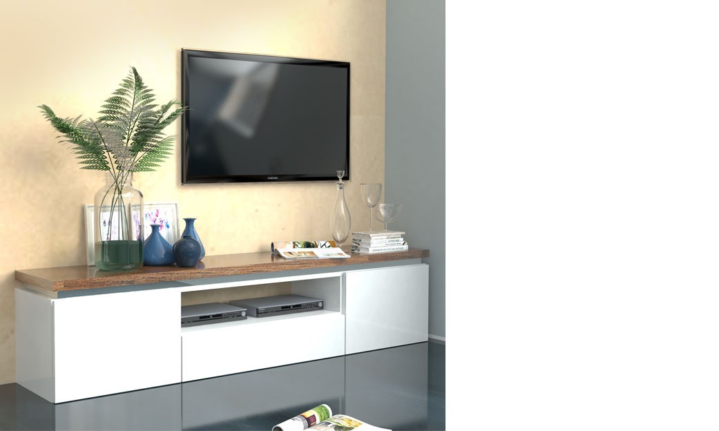 Meuble tv blanc bois for Grand meuble tv blanc laque