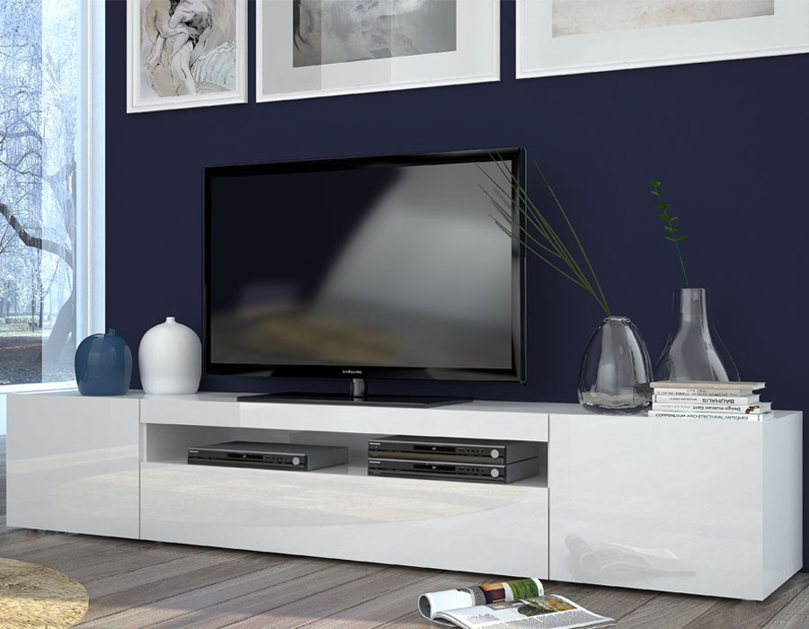 Meuble tv 120 cm blanc conceptions de maison for Meuble bas tv blanc laque