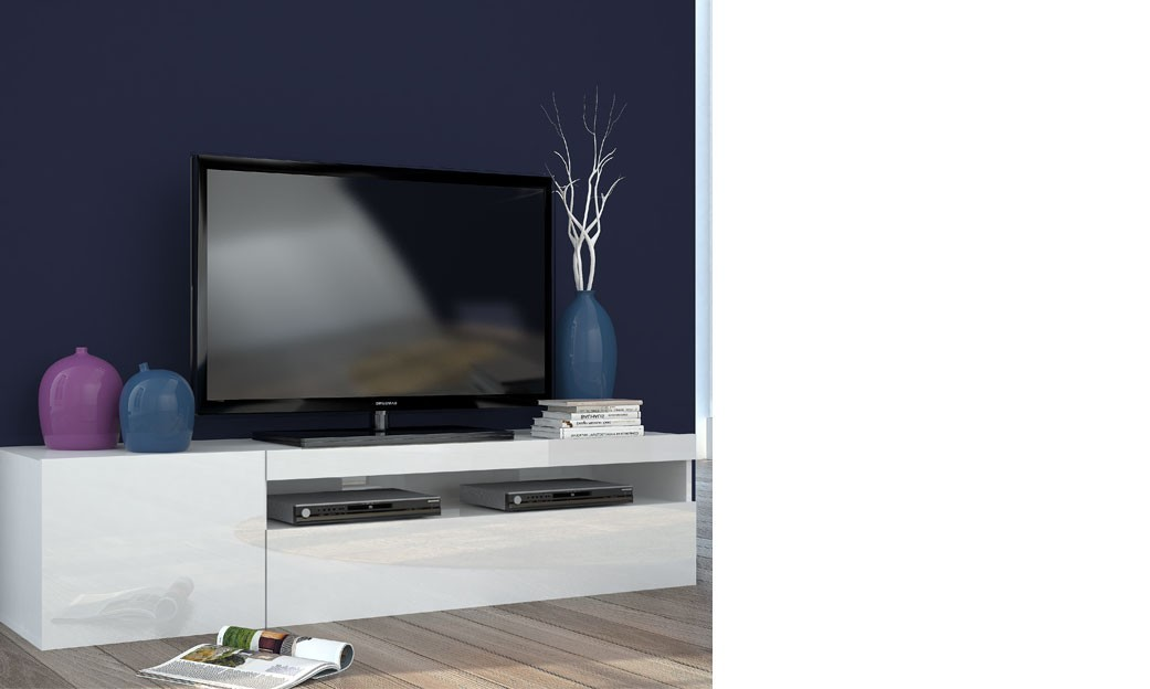Meuble tv blanc laqu design avec led galena for Meuble tele design laque blanc