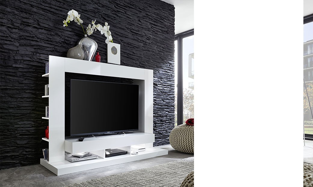 finest meuble tv led moderne blanc adama with meuble tv blanc laque pas cher. Black Bedroom Furniture Sets. Home Design Ideas