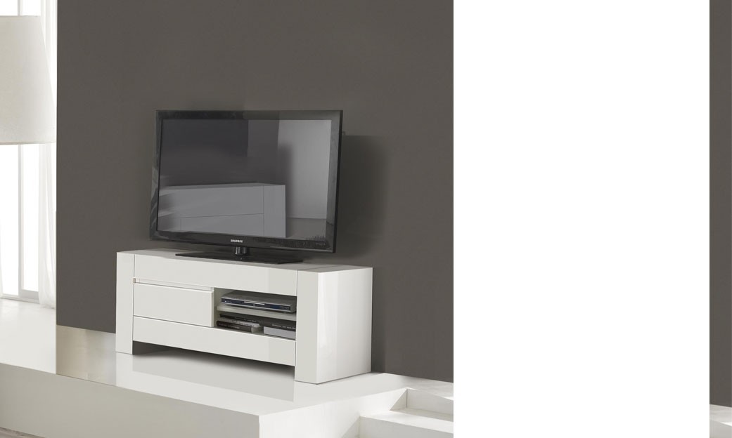Meuble tv design blanc laqu totti for Meuble hifi blanc