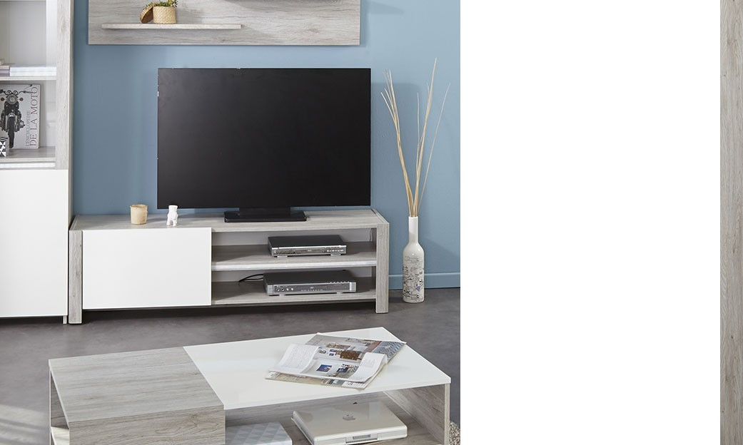 Meuble tv moderne couleur ch ne gris et blanc brillant vincent for Meuble tv gris blanc