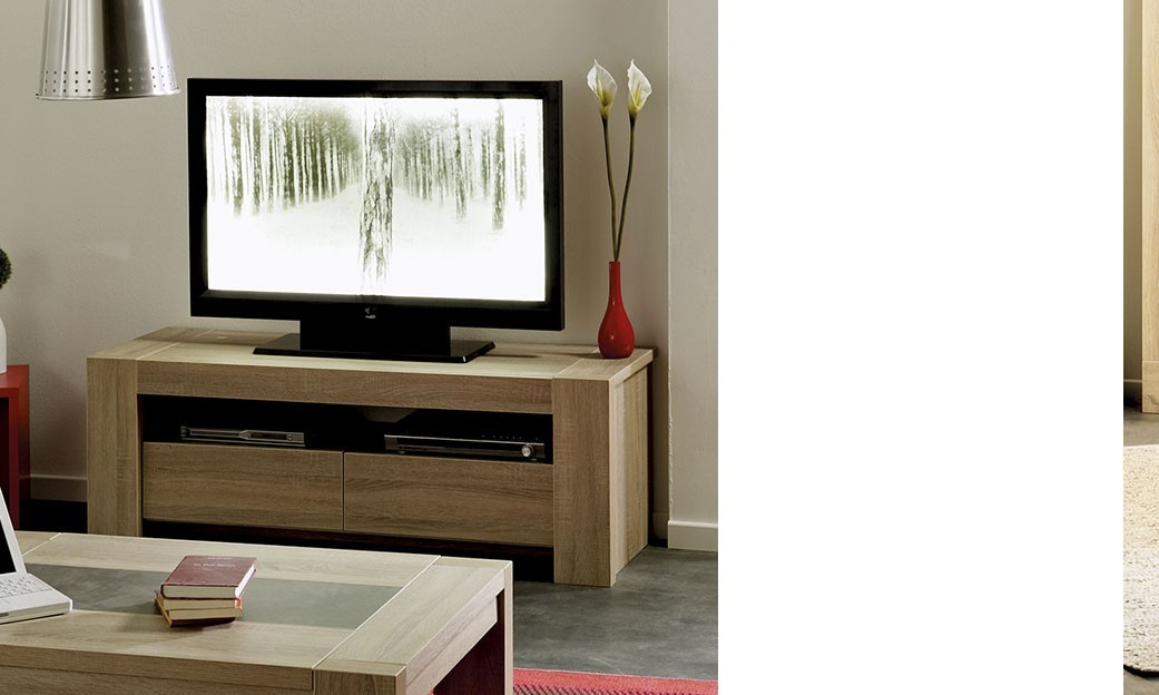 Meuble tv contemporain couleur ch ne brut aline for Meuble tv contemporain design