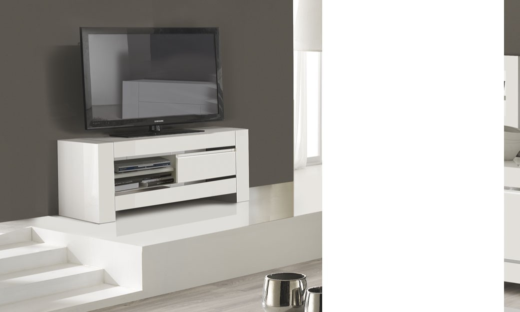 Petit meuble tv blanc laqu et chrome design totti 3 for Meuble petit casier