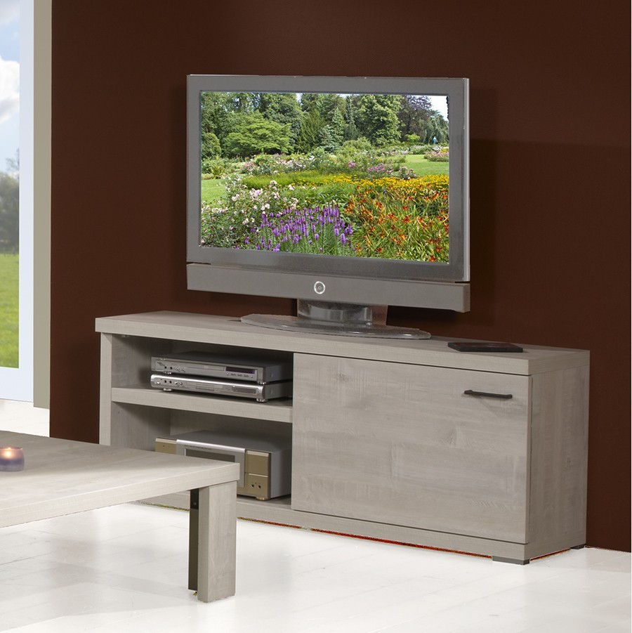 Tv Contemporain 1 Porte 2 Niches Cardiff Coloris Ch Ne Blanchi # Meuble Tv Contemporain Blanc