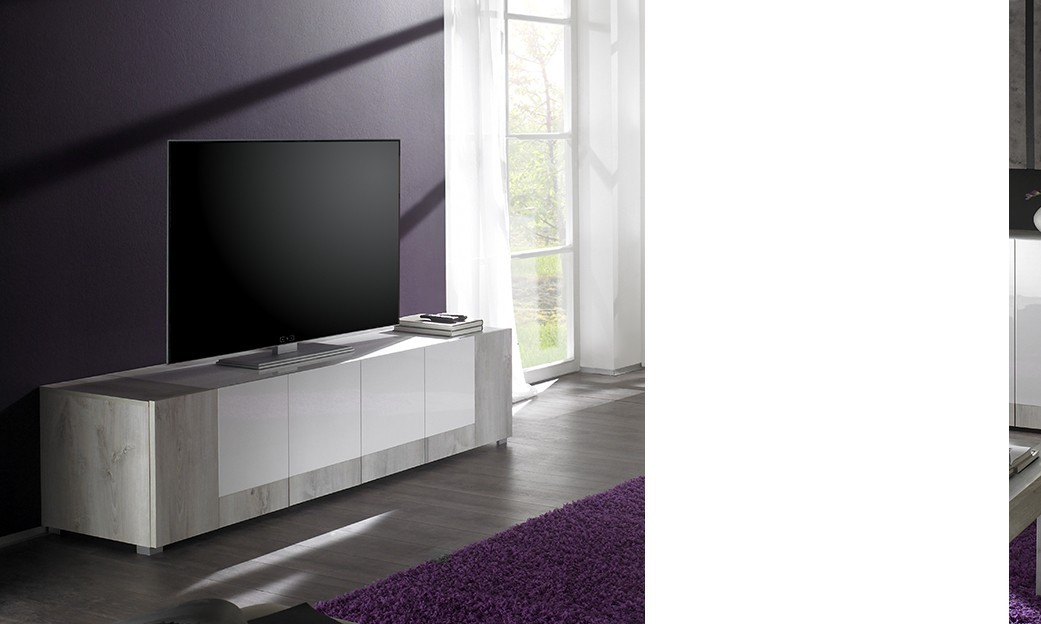 meuble tv hifi contemporain marjolene 4 portes coloris. Black Bedroom Furniture Sets. Home Design Ideas