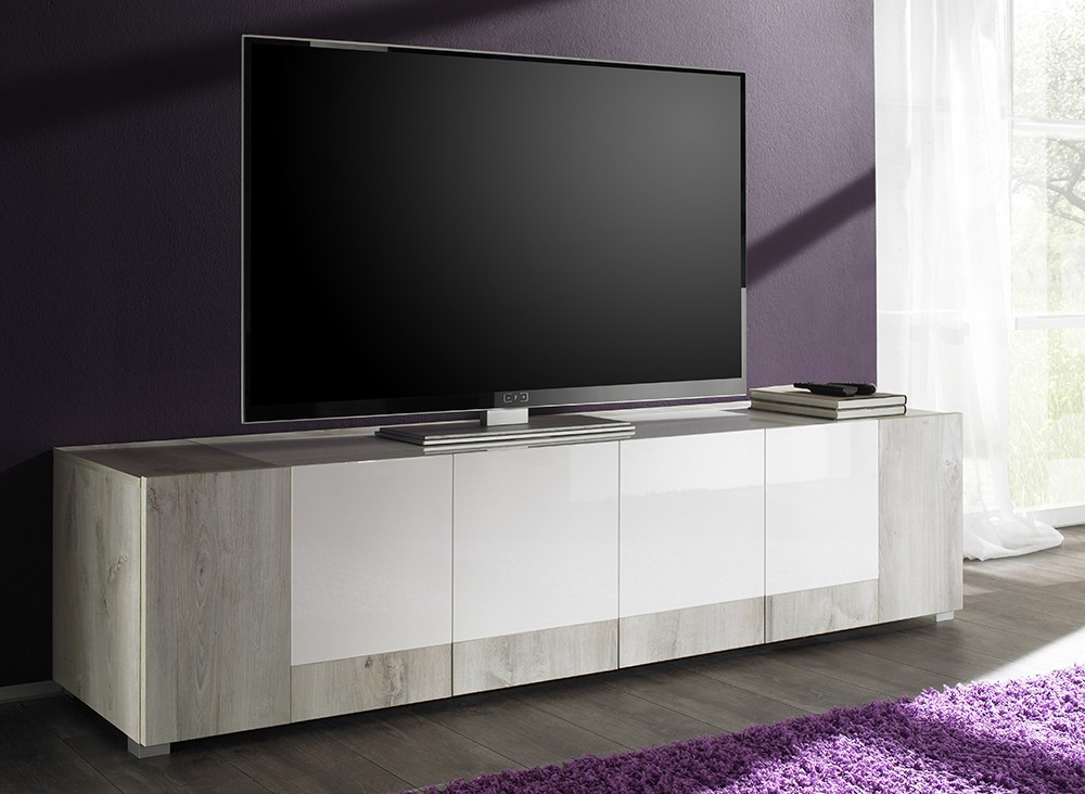 Meuble tv contemporain marjolene zd1 m tv c for Meuble 4 portes laque blanc