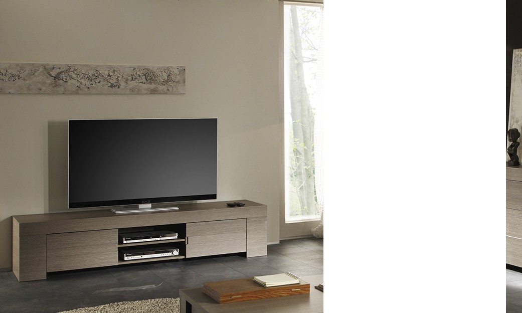 Meuble tv hifi contemporain toscane disponible en 2 for Meuble tele contemporain