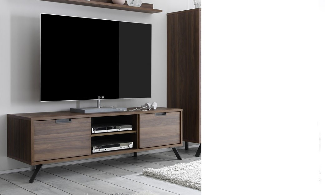 Meuble tv contemporain couleur bois fonc lenexa for Meuble tele contemporain