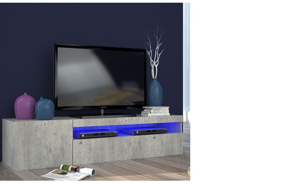 Meuble tv contemporain couleur bois gris avec led orlando for Meuble tele a led