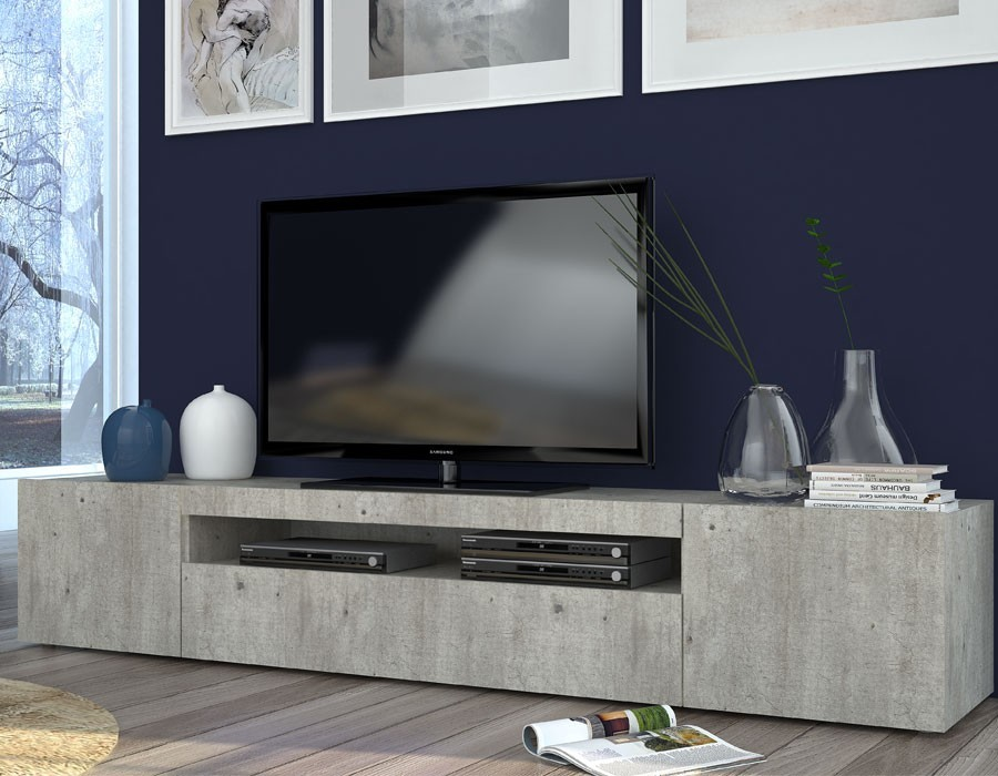 Meuble tv contemporain bois gris led orlando zd1 for Meuble comtemporain