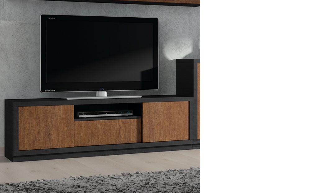 meuble tv contemporain coloris ch ne et noir tohias. Black Bedroom Furniture Sets. Home Design Ideas