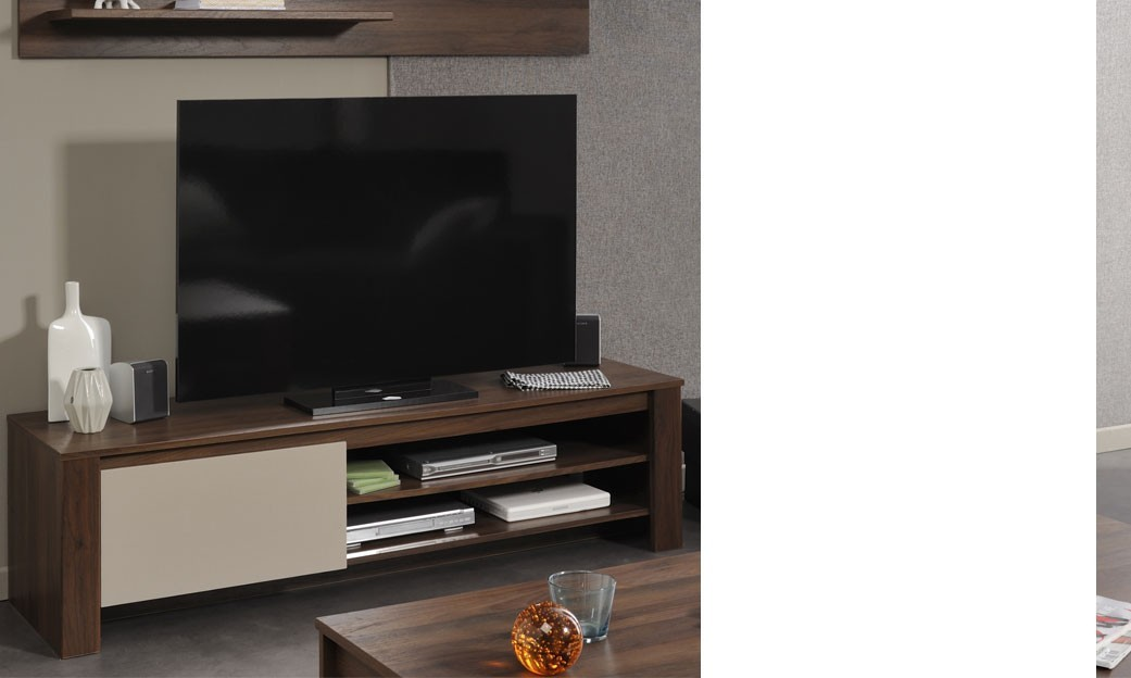 Meuble tv de salon contemporain couleur noyer et beige brice for Meuble tv beige