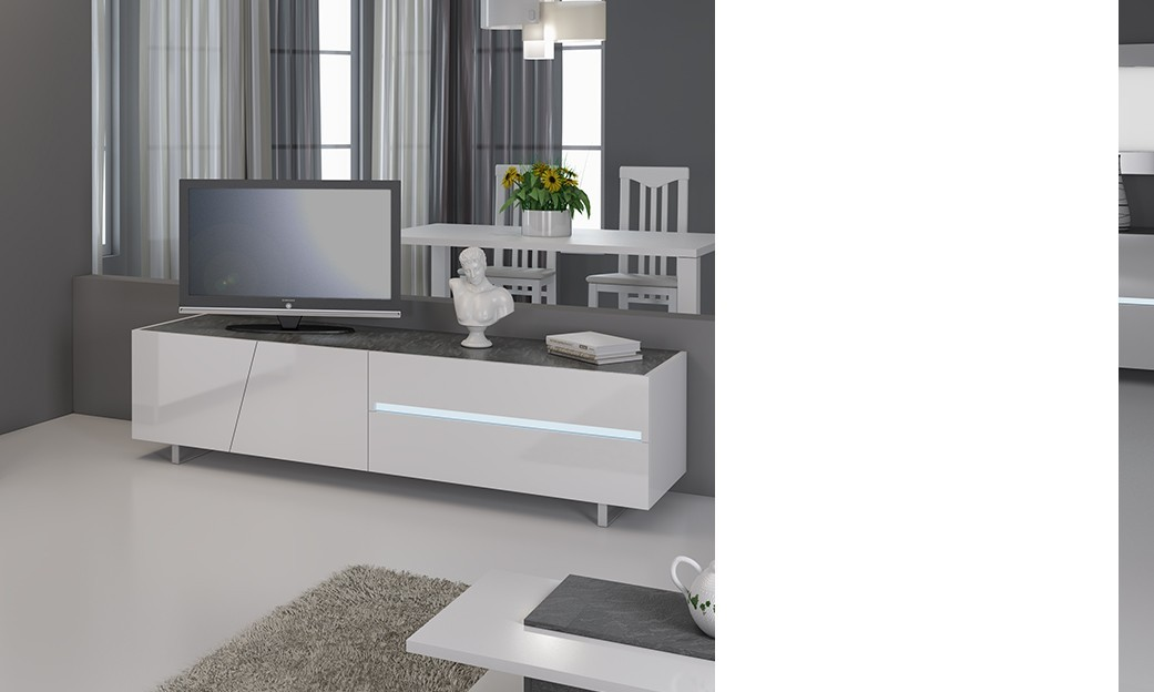 Meuble tv design laqu blanc lizea avec clairage led for Meuble bar laque blanc