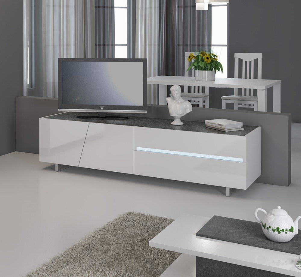 Meuble Tv Design Laqu Blanc Lizea Avec Clairage Led Int Gr