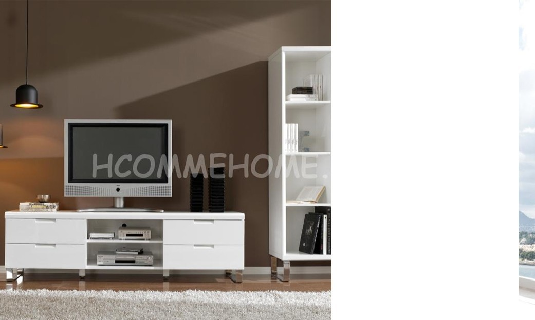 Meuble tv design laqu blanc angelo 4 tiroirs et 2 niches for Meuble blanc laque salon