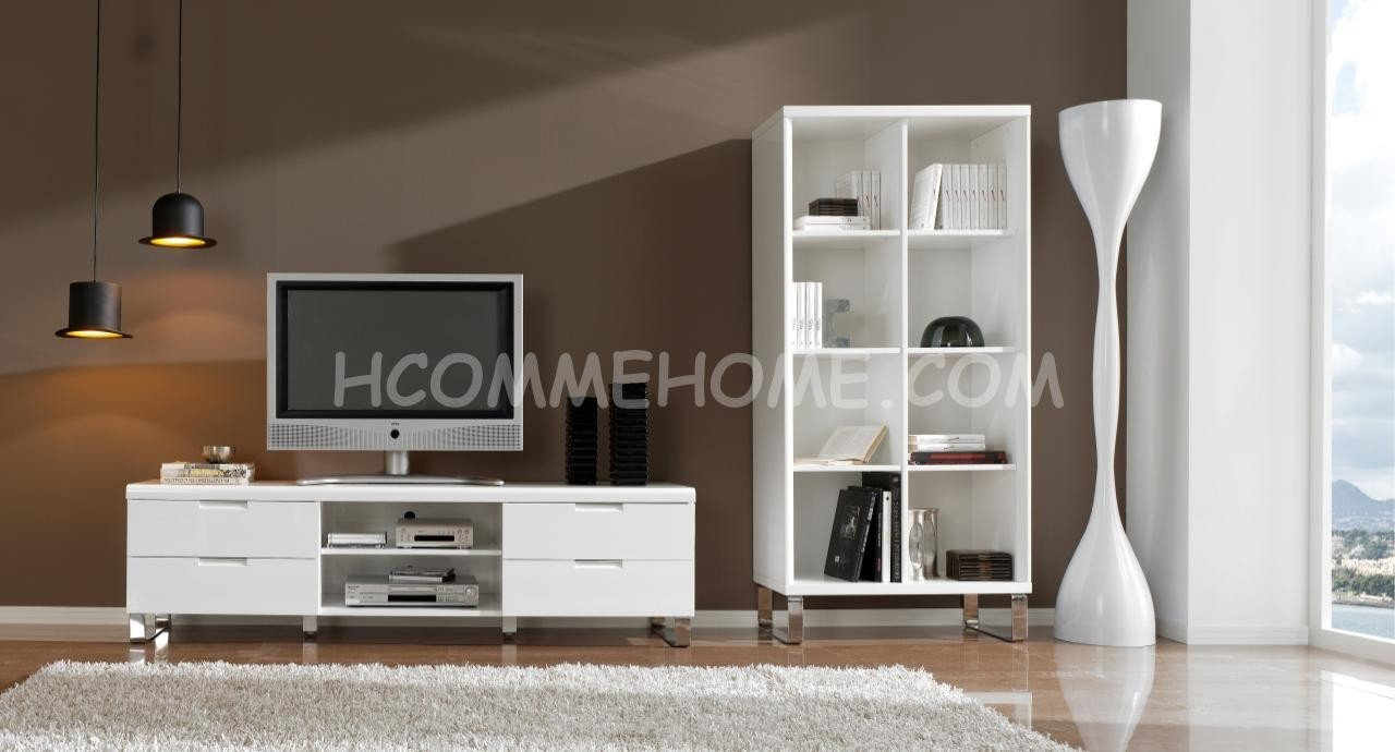meuble tv design blanc laque angelo zd1 m tv d. Black Bedroom Furniture Sets. Home Design Ideas
