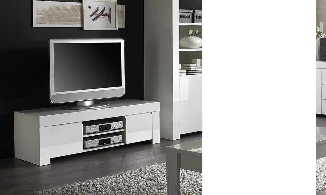 Meuble tv design blanc laqu aphodite disponible en 2 for Meuble tv dimension