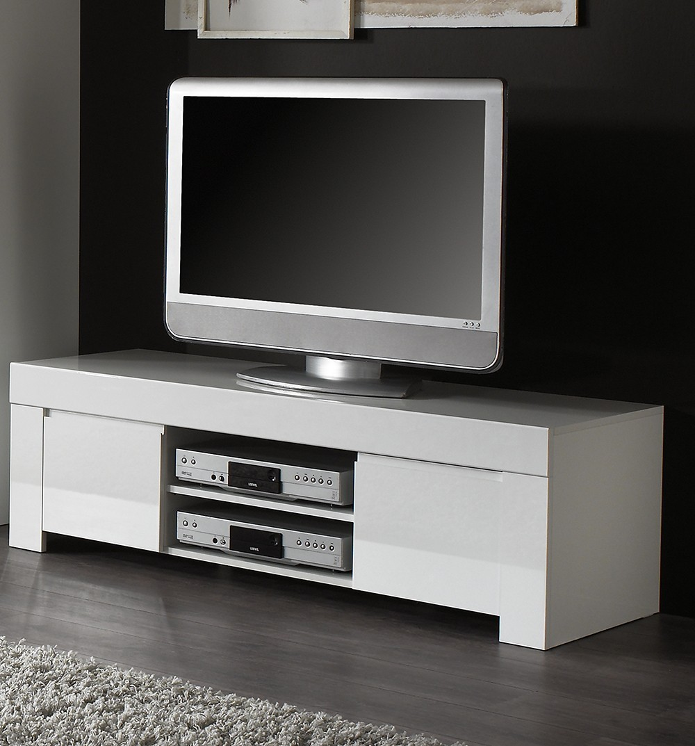 Meuble tv design blanc laque aphodite zd1 m tv d for Ideal meuble catalogue
