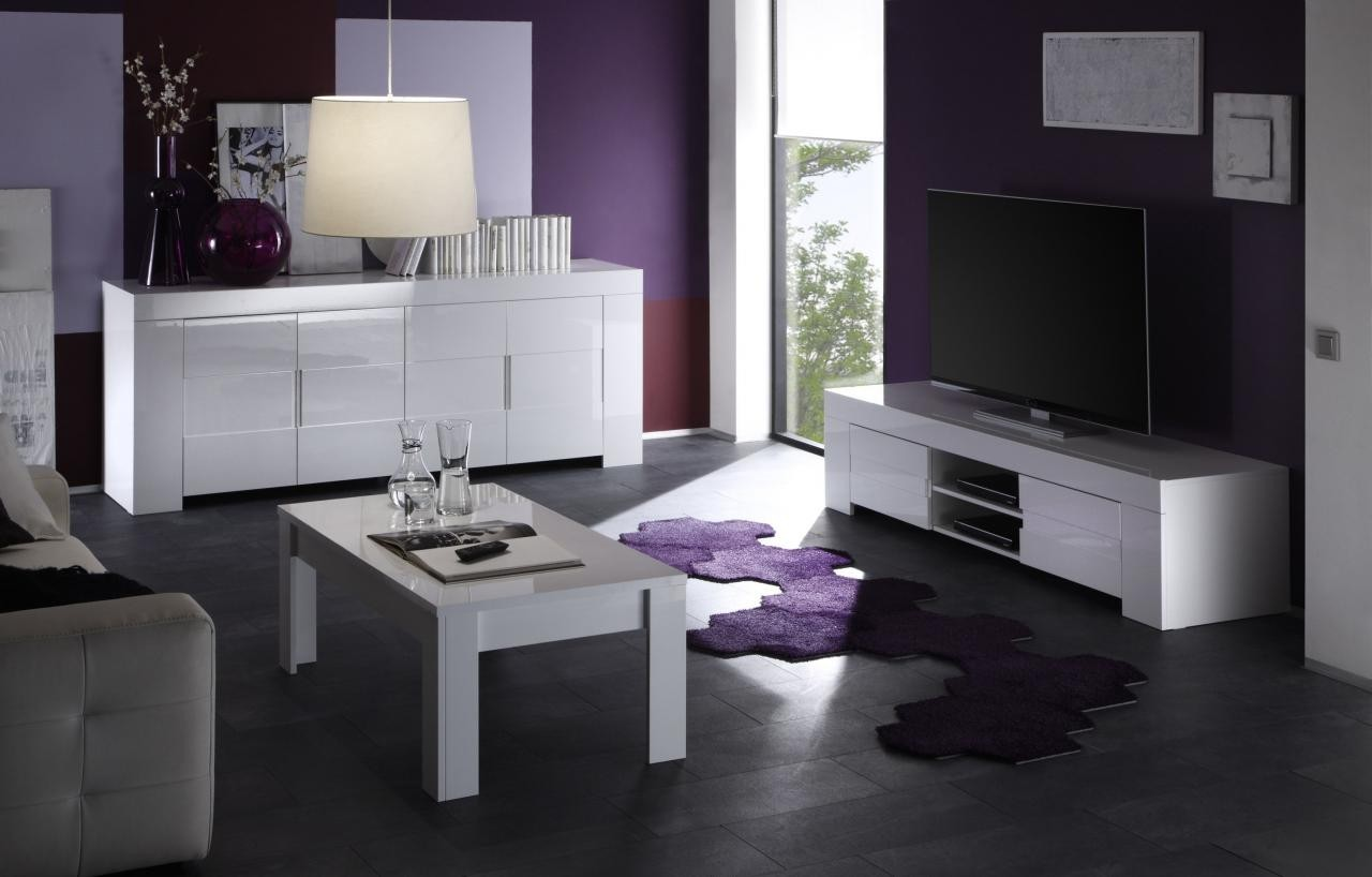 Meuble Tv Design Laqu Blanc 2 Portes Et Une Niche # Ensemble Meuble Tv Table Basse Design