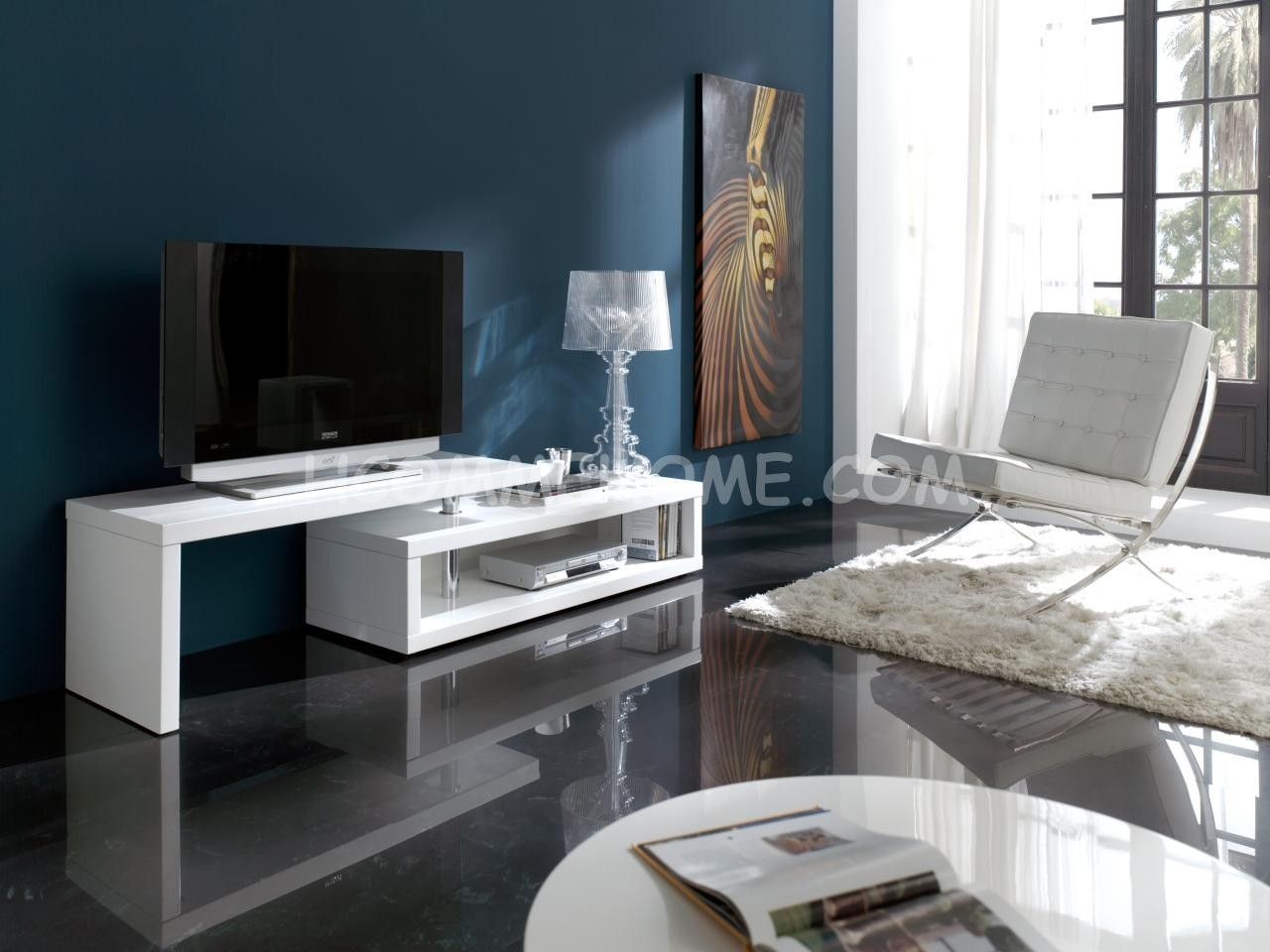 meuble tv design blanc laque orfelia zd1 m tv d. Black Bedroom Furniture Sets. Home Design Ideas