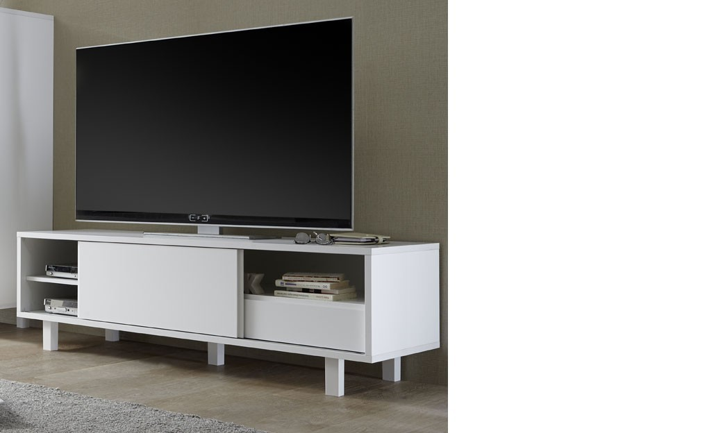 meuble tv design blanc laqu flavia. Black Bedroom Furniture Sets. Home Design Ideas