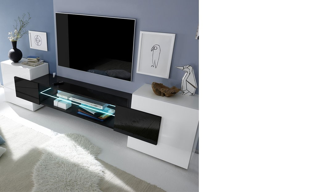 meuble tv moderne laqu blanc et noir trivia 3. Black Bedroom Furniture Sets. Home Design Ideas