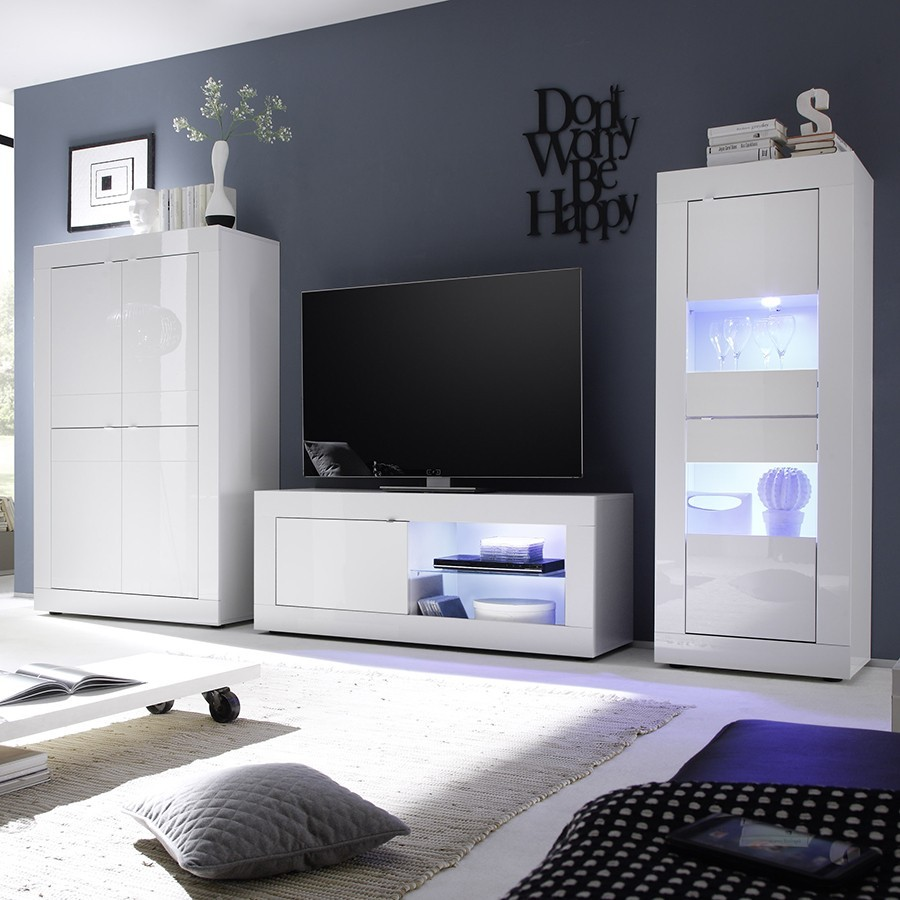 Meuble T L Blanc Italien Avec Clairage Led # Meuble Tv Design Led