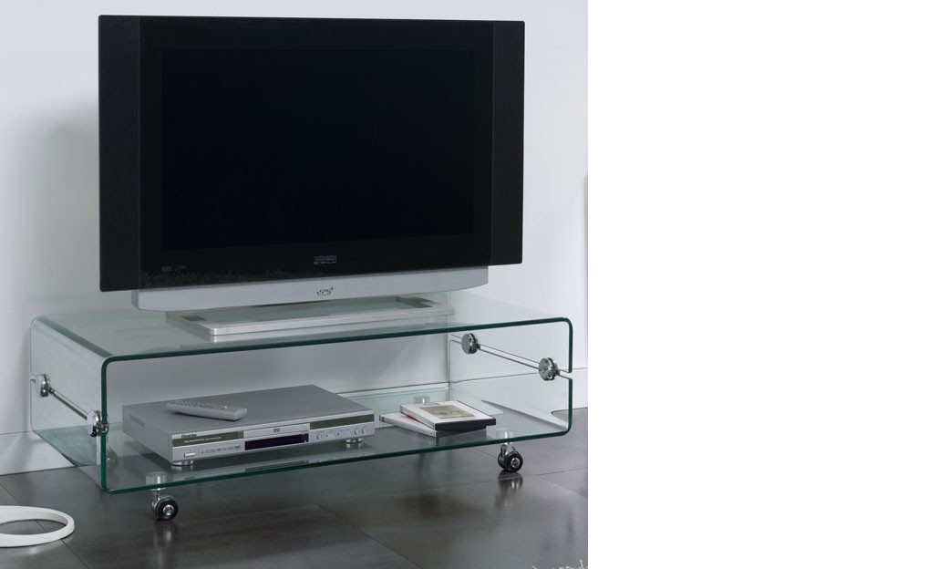 Meuble tv design en verre sarti for Meuble tele en verre