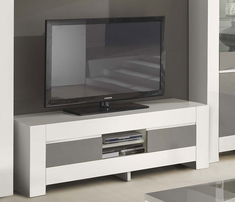 meuble tv gris blanc laque totti 2 zd1. Black Bedroom Furniture Sets. Home Design Ideas