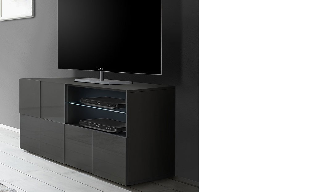 petit meuble tv design gris laqu atmore 2. Black Bedroom Furniture Sets. Home Design Ideas