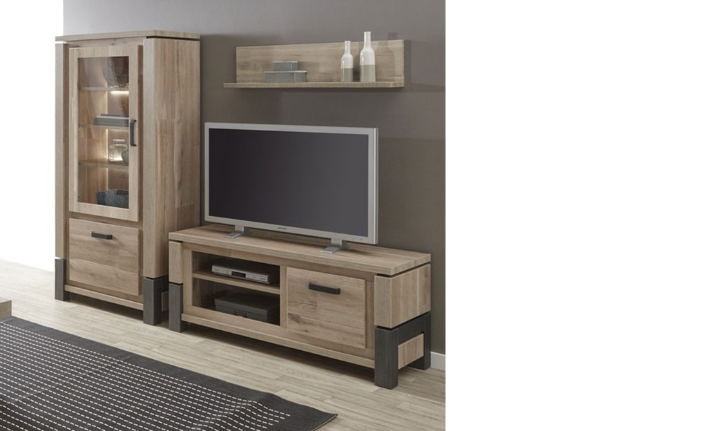 meuble tv couleur ch ne et acier noir moderne tommy. Black Bedroom Furniture Sets. Home Design Ideas