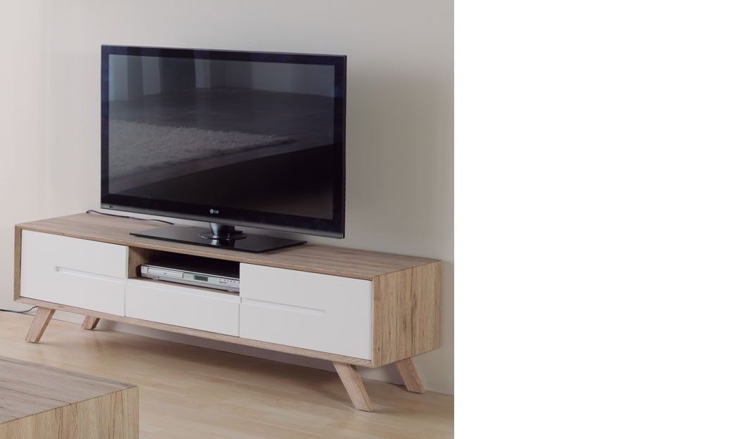 meuble tv scandinave laqu blanc et couleur bois lars. Black Bedroom Furniture Sets. Home Design Ideas