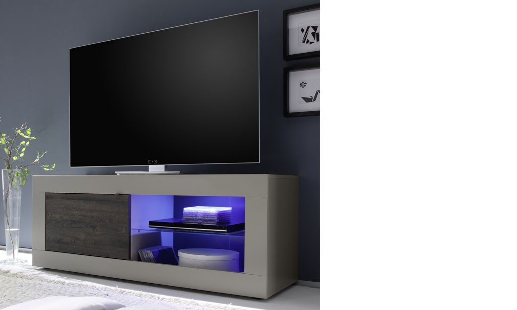 Meuble tv laqu mat taupe et weng moderne lobby led et for Dimension meuble tv