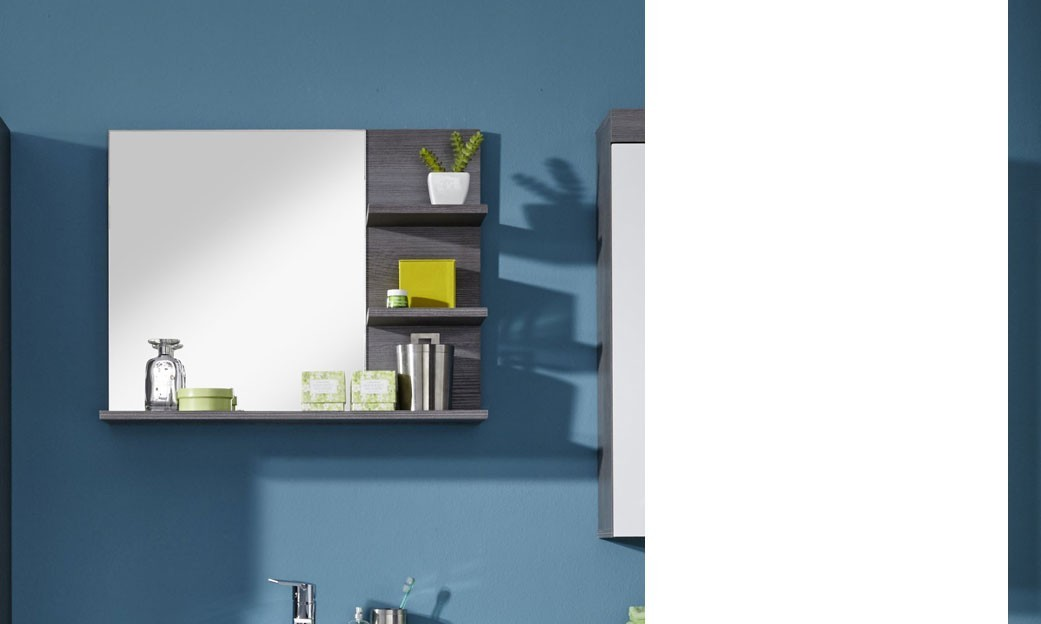 miroir avec tablettes gris pour salle de bain moderne banita. Black Bedroom Furniture Sets. Home Design Ideas