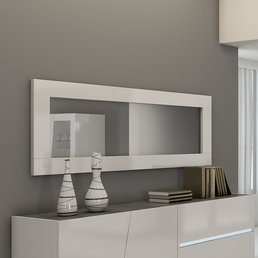 Miroir design blanc lizea for Grand miroir mural horizontal