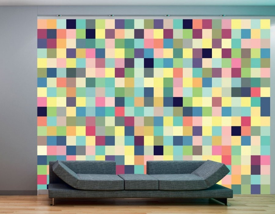 papier peint panoramique pixel colore. Black Bedroom Furniture Sets. Home Design Ideas